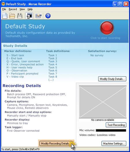 Click recording details button