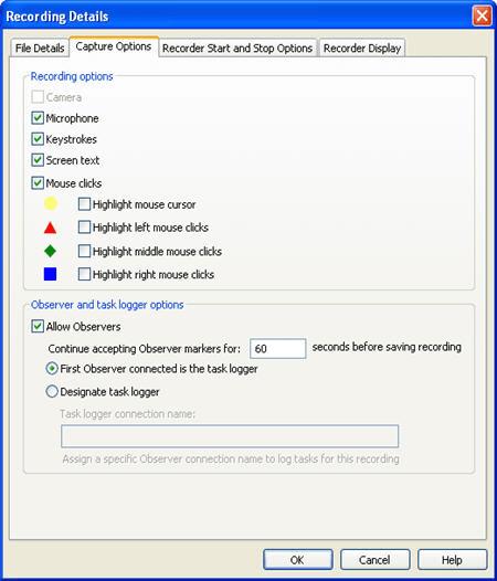 Capture Options tab