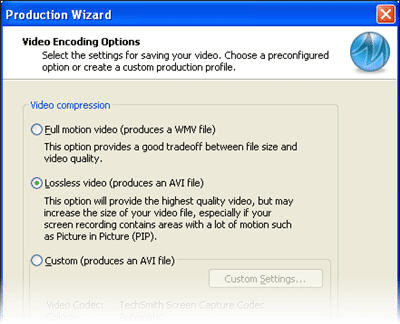 Video encoding options dialog