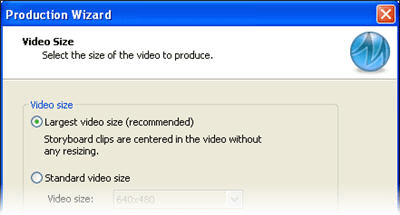 Select video size