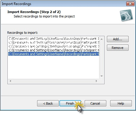 Choose recordings to import into project.