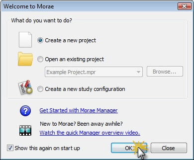 Welcome to Morae dialog box