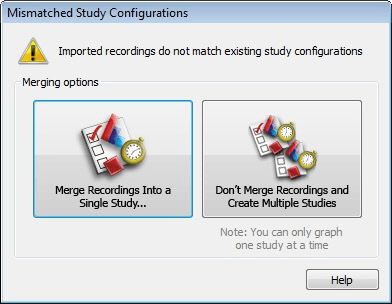 Recording study configurations do not match.
