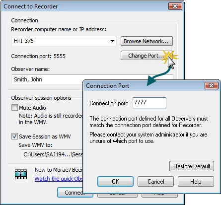 Connect to Recorder dialog showing how to change the port