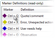 Marker Definitions dialog
