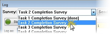 Select survey from Survey dropdown menu