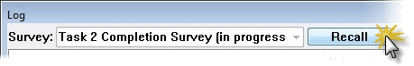 Survey Recall in Log dialog