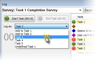 Select a task to log from the dropdown list.