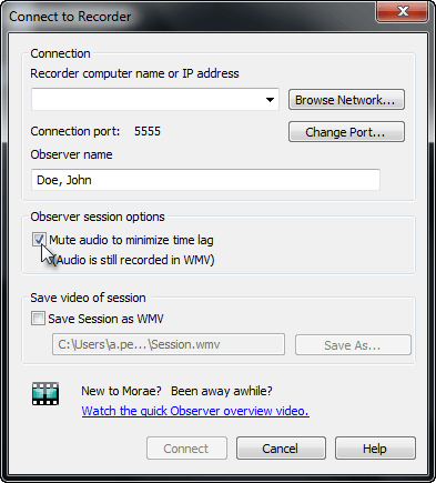 Mute Audio option in Connect to Recorder dialog