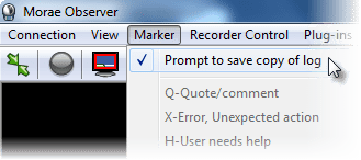 Prompt to save copy of log option in Marker menu