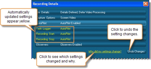 Automatically update Recording Details for recommended AutoPilot configuration.