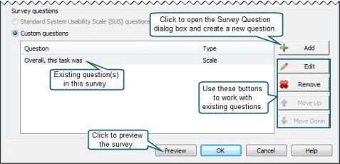 Add survey questions