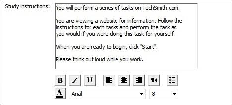 Enter Study Instructions for participants.