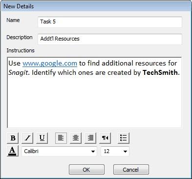 Enter Task Instructions for participants.