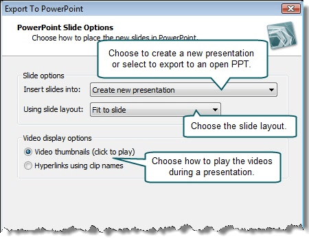 Choose the PowerPoint Slide Options.