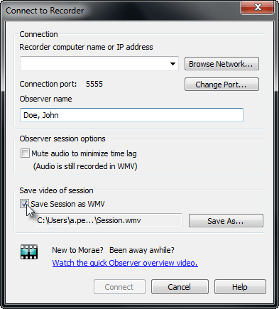 Save Session as WMV option in Connect to Recorder dialog