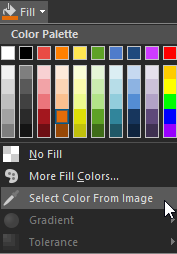 Fill color menu
