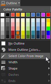 Outline color menu