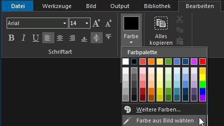 Textfarbe auswählen
