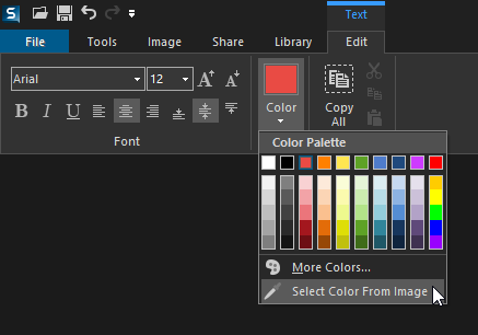 Text Color Menu