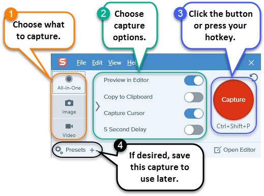 Image displaying the steps to completing a capture with the Snagit Capture window.
