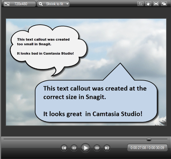 Examples of images created at the wrong dimensions for use in Camtasia