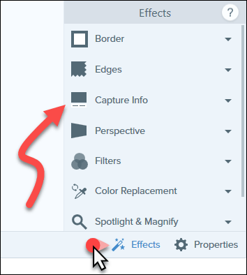 Effects pane open with arrow pointing at Capture Info