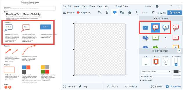 Example of a style guide and how those elements might look in the Snagit Editor
