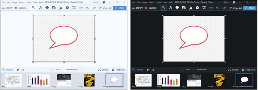 Example of the light and dark Snagit editor themes.