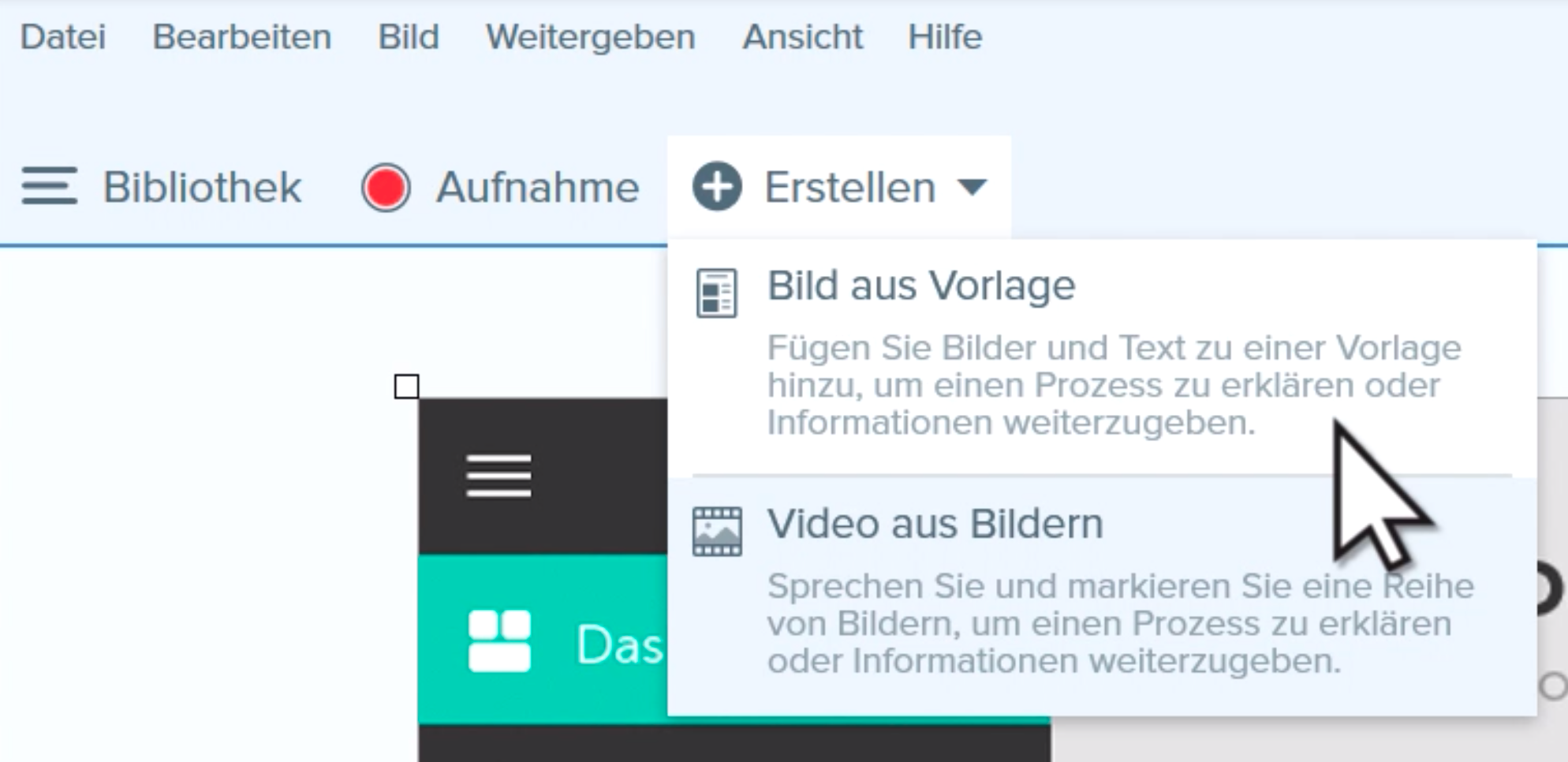 Create menu with Image from Template option selected.