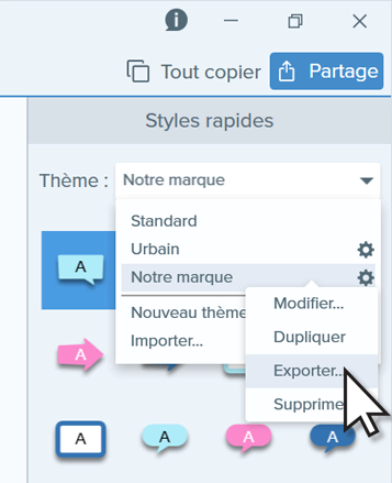 Clicking the explore option in Snagit.