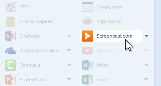 Cursor over Screencast share option.