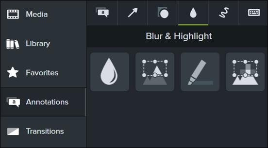 Blur and Highlight menu in Camtasia