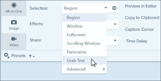 Choose Grab Text in the Capture Window Selection menu.