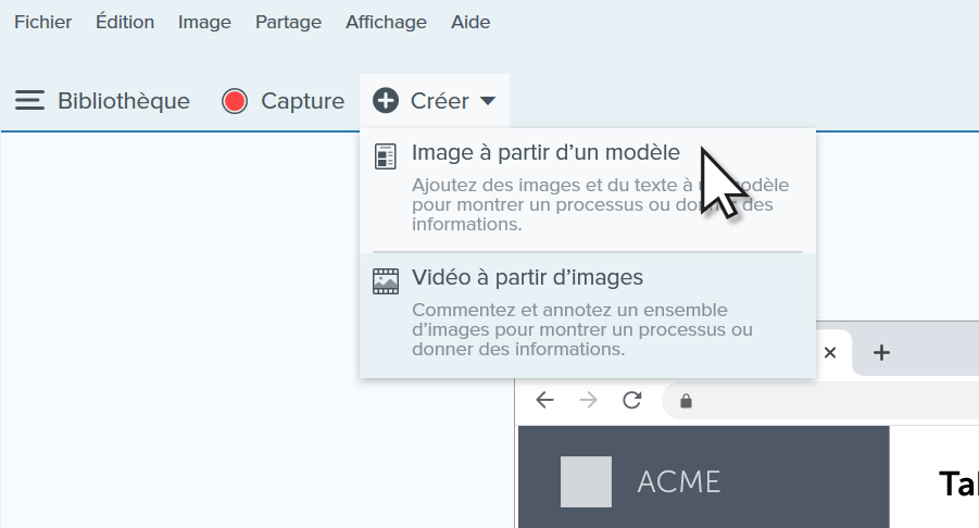 Create Image from Template option in the Share menu.