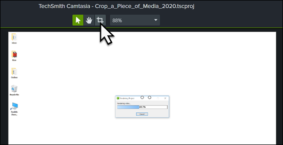 Enable crop mode by clicking on the crop button just above the canvas