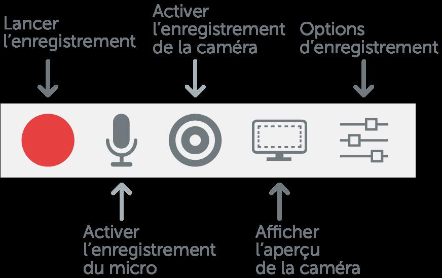 Activer ou désactiver l'enregistrement de la webcam, du son du système et du son du micro.