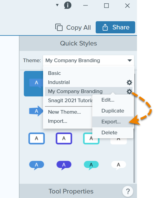 Clicking the Export theme option in Snagit.