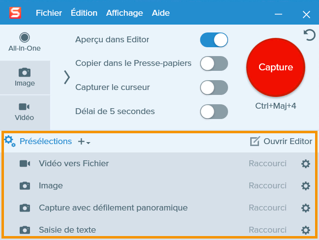 Snagit Capture Window with a callout on the Presets menu.