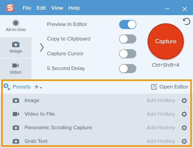 Capture window with presets menu open.