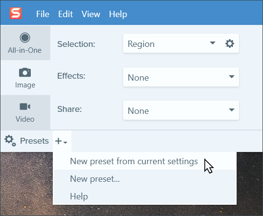 Click New present from current settings option to create a preset.