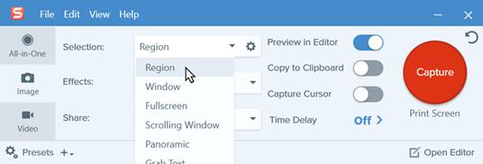 Choosing capture settings in the Capture Window.