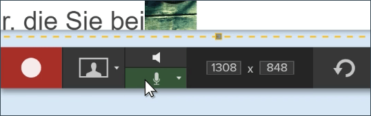 Clicking the microphone toggle in the capture toolbar.