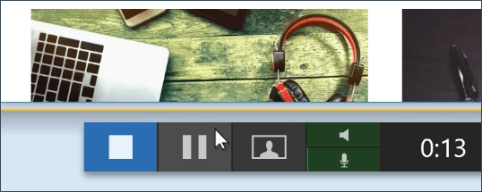 Click pause button while recording.