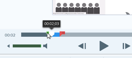 Snagit video editor playhead