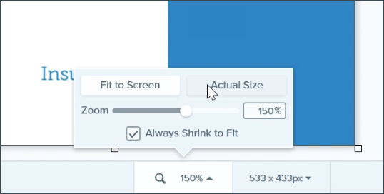 Using the preview controls to adjust the size at which an image is displayed on the canvas.