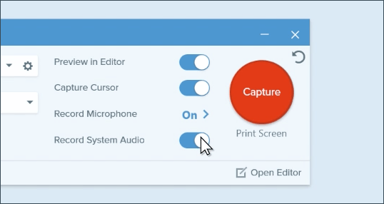 How to capture video on pc and mac snagit tutorial techsmith clicking record system audio toggle ccuart Images