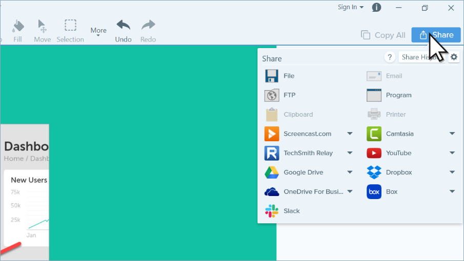 Snagit share menu and outputs.