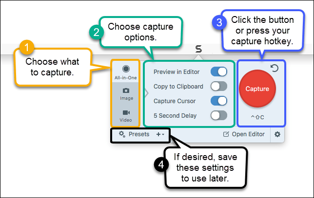 Snagit UI with callouts explaining the parts