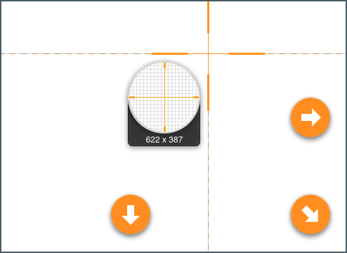 Snagit crosshairs with arrow icons showing the corners of a document